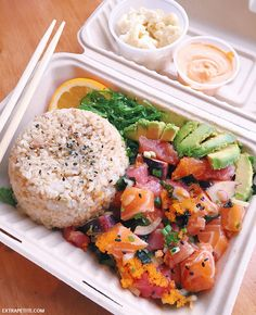 Poke bowl in San Deigo - fresh cubed salmon, ahi tuna, octopus, with brown rice and avocado. Tossed in hawaiian shoyo sauce w/ spicy mayo on the side. Need to try to make this!