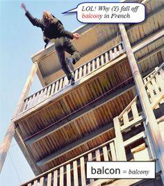 Y fall off balcony.