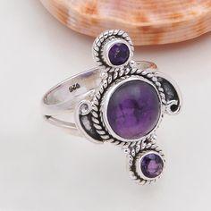 DESIGNER 925 SOLID STERLING SILVER AMETHYST CAB RING 5.20g DJR4752 #Handmade #Ring