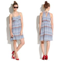 Broadway & Broome Blue Striped Silk Dress So chic and perfect for spring + summer! 100% silk with back tie detail. Excellent condition! No trades!! 01301650gwpg Madewell Dresses