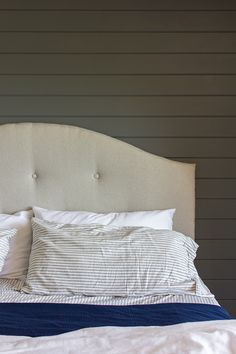 Master Makeover: Planked bed wall