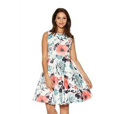 Quiz Cream And Coral Satin Skater Dress- | Debenhams
