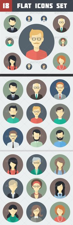 Circle Flat Persons Icons Set - People Characters