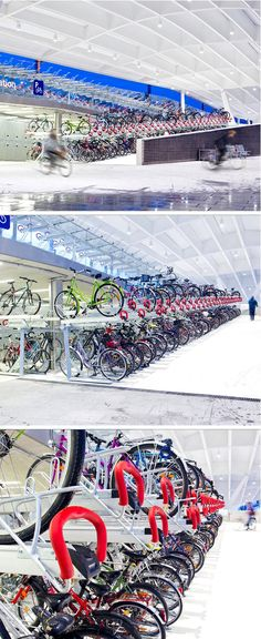 Bike parking in Salzburg Centraal Station, with 616 spots in a very limited area. Click image to tweet, and visit the slowottawa.ca boards >> https://www.pinterest.com/slowottawa/