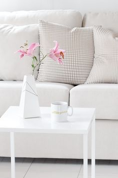 Scandinavian • Decoration • Cushion • Couch • Nude • Flower • Lily • Cup • Coffee • Table • White