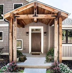 First Class recorded entrance porch design Questions? Porch Overhang, Porch Awning, Porch Roof, Porch Timber, Porch Gable, Portico Entry, Front Entry, Front Porch Addition, Gable Roof Design