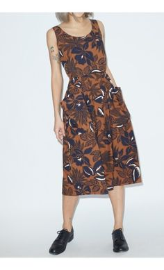 No.6 Alice Dress in Brown Hibiscus