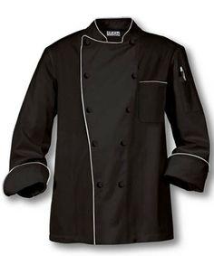 Black Chef Uniform Coat $1~$9 Chef Tattoo, Hotel Uniform, Restaurant Uniforms, Staff Uniforms, Chef Coats, Food Processor Recipes, Catering, Chef Jackets, Raincoat