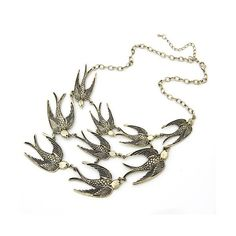 Birds Bronze Necklace@09093044 ($8.39) via Polyvore