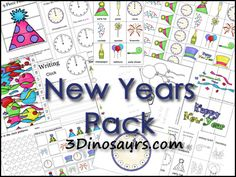 Free New Years Pack! Over 50 pages of activities - 3Dinosaurs.com