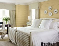 Country-Inspired Master Bedroom; wall color Benjamin Moore Hepplewhite Ivory