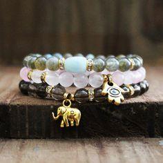 Mala Beads, Healing Jewelry, Aquamarine, Labradorite, Rose Quartz, Smoky Quartz for Meditation, Healing and Love