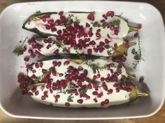 Aubergine (Eggplant) with Buttermilk & Yoghurt Sauce Dinner For 2, Greek Yoghurt, Pomegranate Seeds, Eggplant, Vegetarian Recipes, Dinners, Ethnic Recipes, Food, Dinner Parties