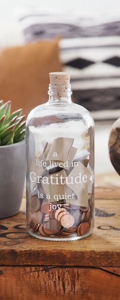 Be thankful and mindful with these California-made etched glass jars. Fill with notes of gratitude, or as you drop in spare change, take a moment to focus on your blessings.