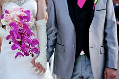cascading hot pink bouquet from Cheryl & Andrew's offbeat, 70s disco glam themed wedding from Deb Lindsey Photography.