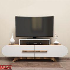Comoda Tv Rose - Alb/Nuc Tv Stand Wayfair, Tv Stand Console, Contemporary Cabinets, Modern Shelving, Modern Tv, Diy Tv, Tv Unit, Living Room Kitchen, Room Colors