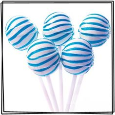 Blue and White Striped Ball Lollipops