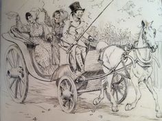 Off we drove ( detail ) illustration for Mary Russell Mitford's our village. Ink Pen Drawings, Children's Book Illustration, Childrens Books, Illustrators, Restoration, The Originals, British Artists, Artwork, Watercolors