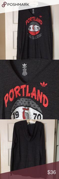 Adidas Portland Trailblazers Hooded Tee Long Sleeves, Excellent Condition. (GO BLAZERS!!!) adidas Tops Tees - Long Sleeve