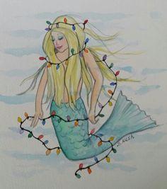 Mermaid Lights Sheila Nash watercolor