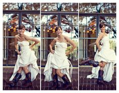 cowboy boots with a wedding dress: yet another way to make the big day a party.  fun  :)
