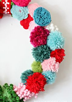 Pom Pom and Posie Wreath #DIY