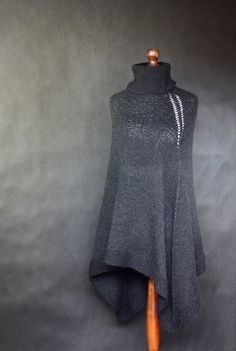 Hand Knit black Poncho
