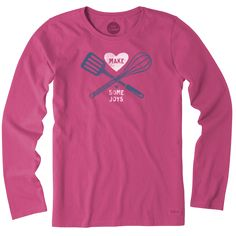 Women's Make Some Joys Cooking Long Sleeve Crusher Tee | Life is Good® Official Site