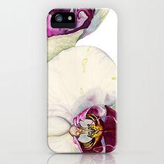 Cream & Fuchsia Cymbidium Orchids iPhone & iPod Case by Cindy Lou Bailey  - $35.00.  A close-up of cream & fuchsia cymbidium orchid flowers. #cymbidiums #orchids #watercolor #fuchsia #cream #botanicalillustration #iPhone #iPhonecase