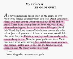 To My Princess... let go of guilt