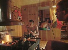 After their swim, the men eat pork-and-mutton sausages grilled over an open fire in the dressing room of the sauna. On the wooden tray can be seen Karelian piirakka, rice-filled pasties with a thin rye crust. The mugs hold a mild, thirst-quenching beer called kalja, which the Finns brew at home from water, malt, sugar and yeast.  From The Cooking of Scandinavia, Time Life Foods of the World.