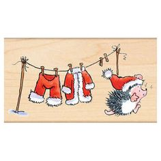 Chill Day (Christmas) - Wood Rubber Stamp from Penny Black. A Penny Black wood stamp featuring a hedgehog and Santa Claus' clothes hanging on a clothesline. Watercolor Christmas Cards, Christmas Drawing, Watercolor Cards, Christmas Rock, Christmas Time, Christmas Crafts, Black Christmas, Illustration Noel, Christmas Illustration