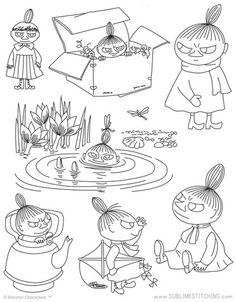 Moomin - Little My Embroidery Designs, Hand Embroidery Patterns Free, Embroidery Sampler, Embroidery Transfers, Vintage Embroidery, Knitting Patterns, Ribbon Embroidery, Beginner Embroidery, Geometric Embroidery