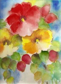 Floral abstract watercolor 9x12 by VeeKayArt2010 on Etsy.  Reminds me of my grandma's hollyhocks.