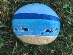 Hand painted stone rock beach scene acrylic painting on rock hand made