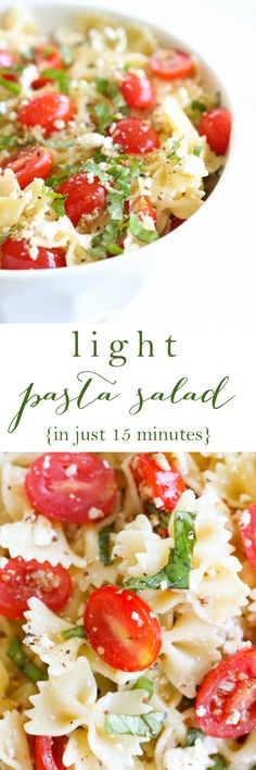 Easy, light and refreshing pasta salad recipe made from start to finish in less than 15 minutes! {including boil time!}