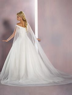 Alfred Angelo Elsa Style satin and tulle ball gown wedding dress with shoulder straps and full length sheer sleeves, finished with Watteau train Disney Wedding Dresses, Princess Wedding Dresses, Wedding Bridesmaid Dresses, Wedding Gowns, Frozen Wedding Dress, Romantic Princess, Bride Dresses, Wedding Cape, Dream Wedding