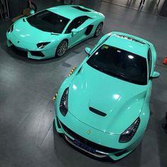 Ferrari F12 and Lamborghini Aventador.