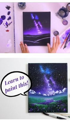 Space Painting, Galaxy Painting, Galaxy Art, Painting Tutorials, Painting Tips, Naruto Sketch, Night Sky Painting, Artist Alley, Learn To Paint
