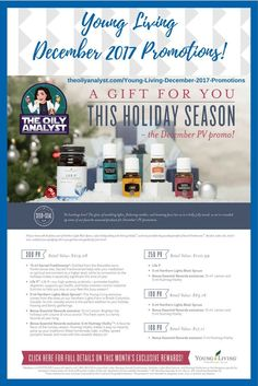 Young Living's December 2017 Promotions! Click this graphic! Ready to Join? Go to www.theoilyanalyst.com/essential-oils today! | Young Living | Essential Oils | Freebies | Promotions | Promos | Nutmeg Vitality | Lemon | Northern Lights Black Spruce | Life 9 | Sacred Frankincense | The Oily Analyst