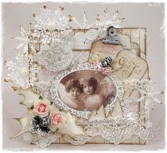 Christmas card by LLC DT Member Tracy Payne. The tags are from Pion Design - Wintertime in Swedish Lapland, papers from Maja Design's Sofiero collection.
