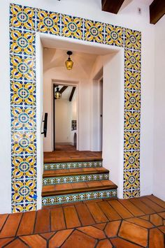 I just love the colorful tile of this Spanish revival home. - I just love the colorful tile of this Spanish revival home. Spanish Style Bathrooms, Spanish Home Decor, Mexican Home Decor, Spanish Tile, Mediterranean Home Decor, Mexican Style Homes, Hacienda Style Homes, Spanish Style Homes, Spanish House