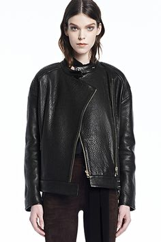 J Brand, Dorothy Leather Jacket, black, Womens : Outerwear, JW31LE6755