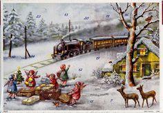 Himmlischer Dampfzug. Glitzernder nostalgischer Adventskalender 10395