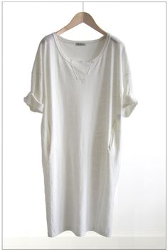 Sweatshirt dress in cotton linen chalk