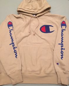 Tan Champion Hoodie, Champion Sweatpants, My Champion, Hoodie Sweatshirts, Pullover Hoodie, Stylish Hoodies, Comfy Hoodies, Dope Outfits, Trendy Outfits