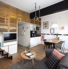 eet tafel, bank, Zoku, hotel, kamer, slaapkamer - Het einde van de traidionele hotelkamer; De Zoku Loft - Wonen Voor Mannen