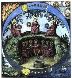 ALQUIMIA VERDADERA: En este gran círculo vemos, en las esquinas, a los 4 grandes Elementos simbólicamente representados. Además, tenemos, arriba, a las 3 grandes substancias, con sus símbolos: Fuego, Agua y, al centro, la mezcla de esos 2, el Mercurio. Abajo tenemos a las 7 Divinas Materias reunidas, esto es: las 3 súper Substancias (Cuerpo, Alma y Espíritu), más los 4 grandes Elementos. Esto es Cábala europea. AV.