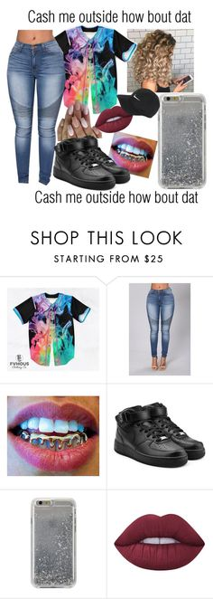 """Cash me outside how bout dat"" by slaykingdom ❤ liked on Polyvore featuring NIKE, Agent 18 and Lime Crime"