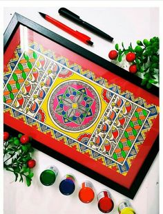 Pichwai Paintings, Small Canvas Paintings, Indian Art Paintings, Diy Canvas Art, Wooden Trays, Painted Trays, Madhubani Art, Madhubani Painting, Worli Painting